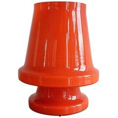 Orange Glass Table Lamp for Flygsfors, Sweden 1970s