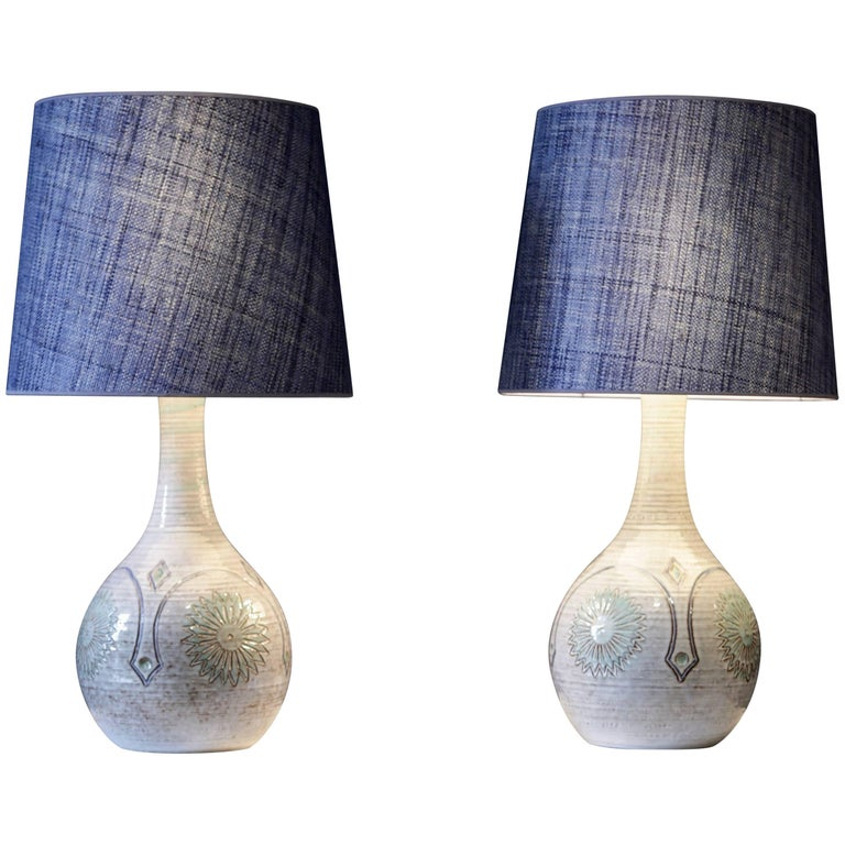 Pair of Large Danish Stoneware Table Lamps with Denim Blue Raffia Shades, 1960 For Sale