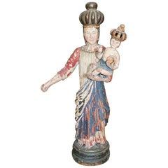 18th Century North Spanish Polychrome Wooden Virgin Sculpture