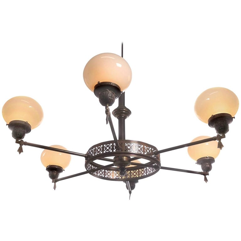 Armory Style Vaseline Glass Chandelier