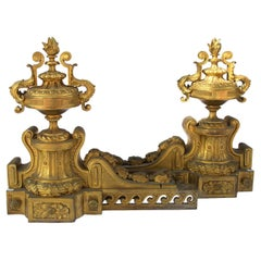 Two Large 1870s Louis XVI Style Bronze Firedogs