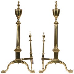 Fine Pair of Large Brass Andirons