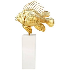 Gilt Brass Scorpion Fish Lamp, circa 1950