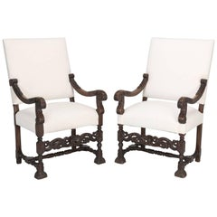 Antique French Carved Pair of Walnut Throne or Armchairs, Restored