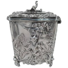 Antique English Edwardian Rococo Sterling Silver Tea Caddy by George Fox
