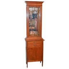 English Edwardian Narrow Display Cabinet, circa 1900