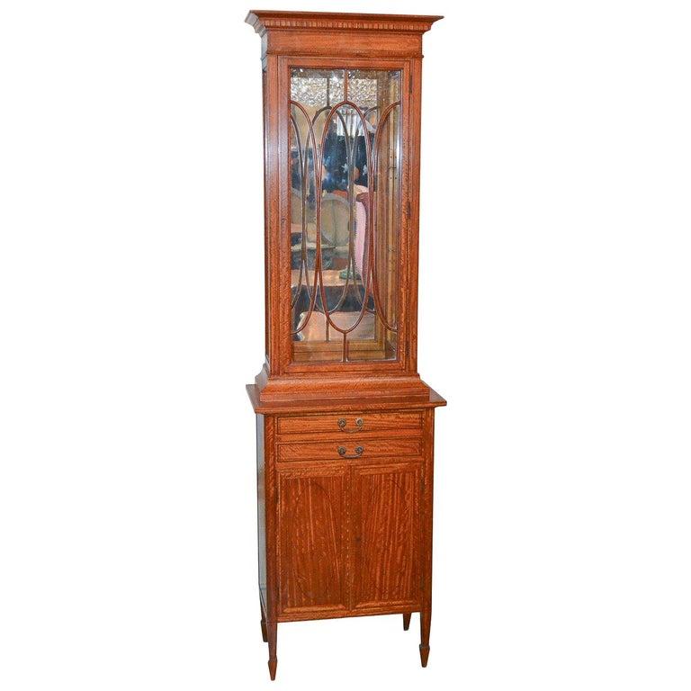 English Edwardian Narrow Display Cabinet Circa 1900