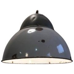 Vintage Grey Enamelled Hanging Lamp
