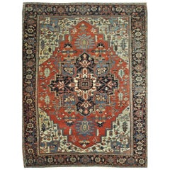 Antique Hand-Knotted Wool Persian Serapi Rug