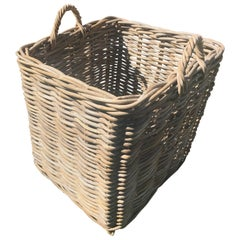 Enormous French Square Wicker Basket with Handles
