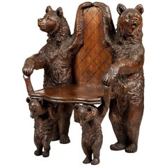 19th Century Swiss Carved Lindenwood 'Black Forest' Bear Seat