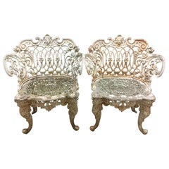 Pair of Antique Cast Iron Garden Chairs in White Paint