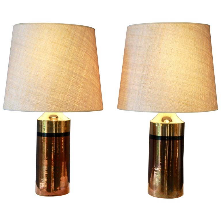 Pair of Metallic Glazed Ceramic Table Lamps by Bitossi for Bergboms For Sale