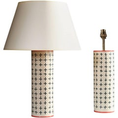 Pair of White Studio Pottery Lamps