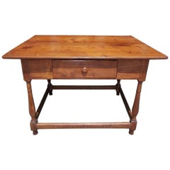 American Walnut One Drawer Pegged Strecther Table, Northeastern, N.C. Circa 1730