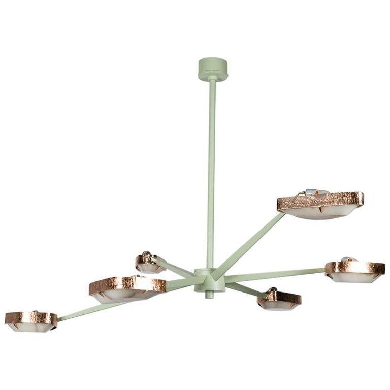 """Achille Salvagni, """"Spider Jewel"""" Six-Arm Chandelier in Fog Green, Italy, 2018 For Sale"""