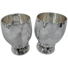 Pair of Georg Jensen Hand-Hammered Sterling Silver Grape Goblets