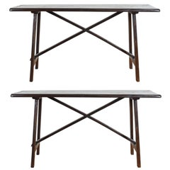 Pair of Italian Baroque Style Trestle Console Tables