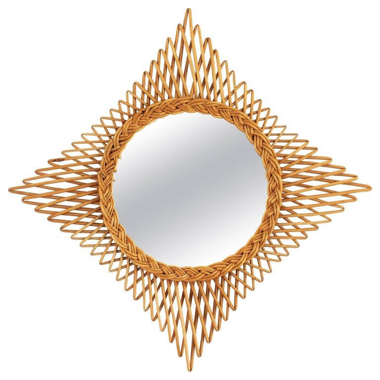 1960s French Riviera Handcrafted Wicker Rattan Rhombus Shaped Sunburst Mirror