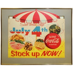 1957 Coca Cola Sun-Brella Days 4th of July Cardboard Advertising Framed