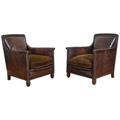 Pair of English Leather and Velvet Upholstered Club Chairs, circa 1910