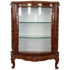 20th Century Louis XV Style Italian Bombe Floral Marquetry Vitrine, Showcase