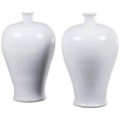 Two Modern Handmade Chinese White Glazed Porcelain Mei Ping Plum Branch Vases