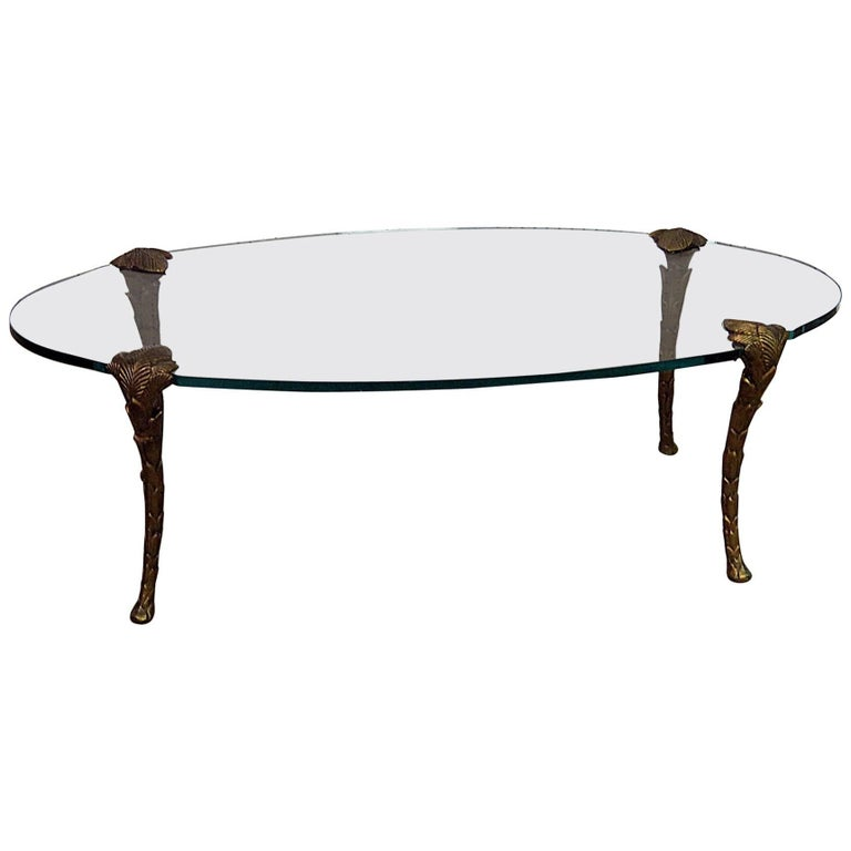 Hollywood Regency Glass Top Coffee Table Attributed P.E. Guerin
