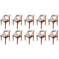 Set of Ten Rosewood Kai Kristiansen Model 31 Chairs, Reupholstered