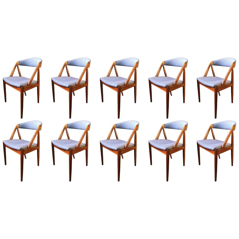 Set of Ten Rosewood Kai Kristiansen Model 31 Chairs, Reupholstered