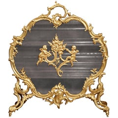 19th Century French Louis XV Carved Gilt Bronze Fireplace Screen with Cherubs