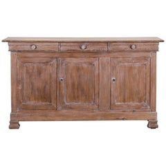 Louis Philippe Antique French Limed Ashwood Buffet Credenza Enfilade, circa 1860