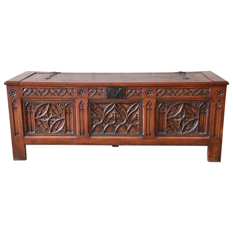 Antique Belgian Gothic Revival Carved Oak Blanket Chest, circa 1900