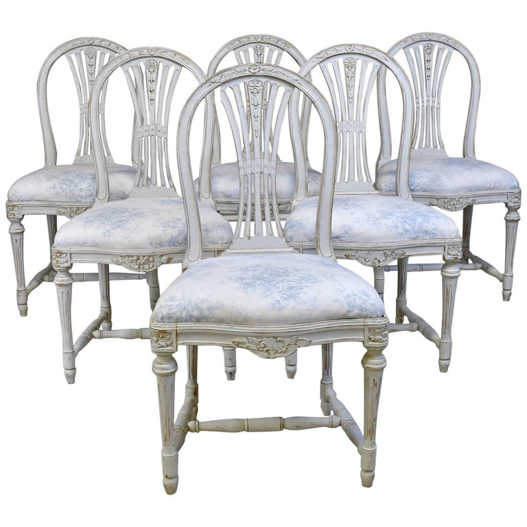 Set of Six Swedish Gustavian-Style Painted Dining Chairs with Upholstered Seat