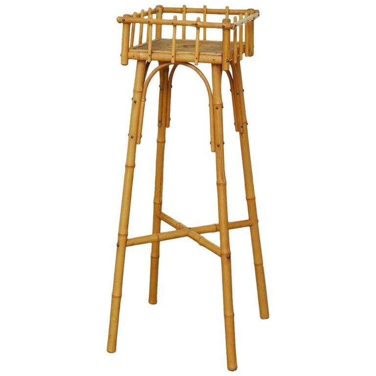 Austrian Art Deco Bamboo and Raffia Plant Stand