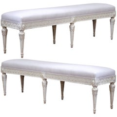 Pair of 19th Century French Louis XVI Carved Painted Upholstered Benches