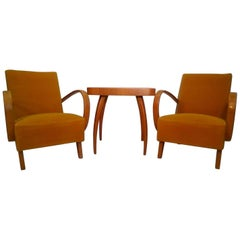 Set of Two Armchair with Coffee Table by Jindřich Halabala, 1960s