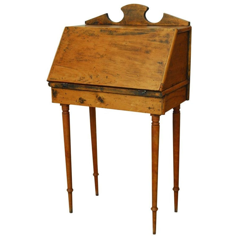 19th Century Diminutive Pine Slant Front Desk