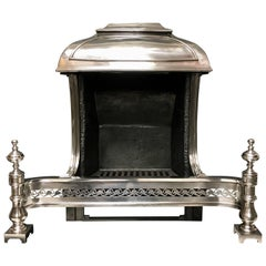 19th Century Cast Iron Beaux-Arts Style Hooded Fire Grate