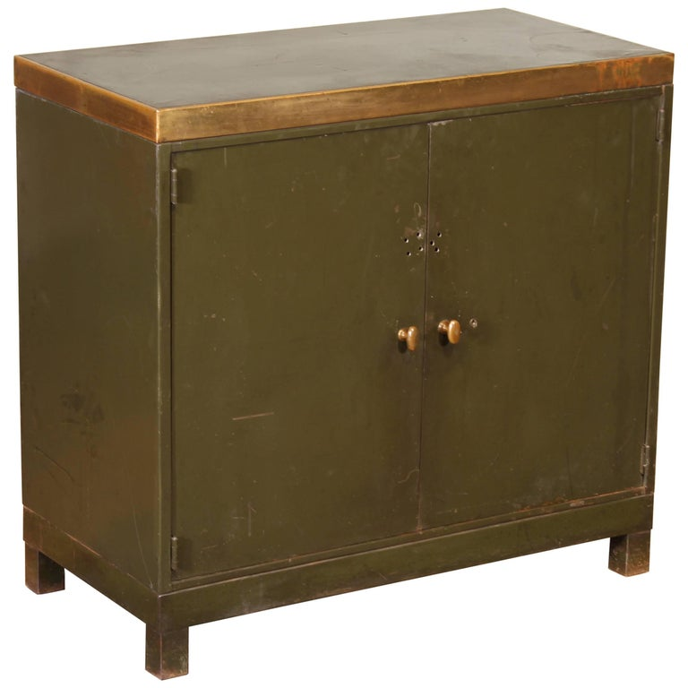 Vintage Copper Top Metal Storage Cabinet