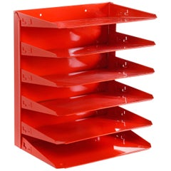 Retro Office Mail Organizer Refinished in Red