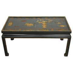 Chinese Black Lacquer Coromandel Screen Coffee Table