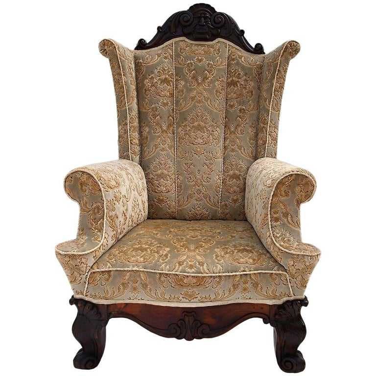 Wing Armchair Carved Walnut, 19th Century
