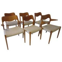 Six Danish Teak Dining Chairs by Arne Hovmand Olsen for J.L. Moller