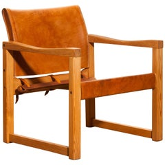 Cognac Leather Safari Chair by Karin Mobring, Sweden, 1970
