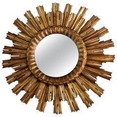French Antique Gilded Sunburst Mirror