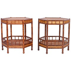 Pair of Faux Bamboo End Tables