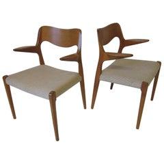 Two Danish Teak Dining Armchairs by Arne Hovmand Olsen for J.L. Moller