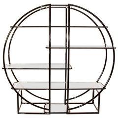 Circular Black Étagère with Glass Display Shelves