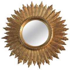 Antique Gilded Wooden Sunburst Mirror from France, Handcrafted